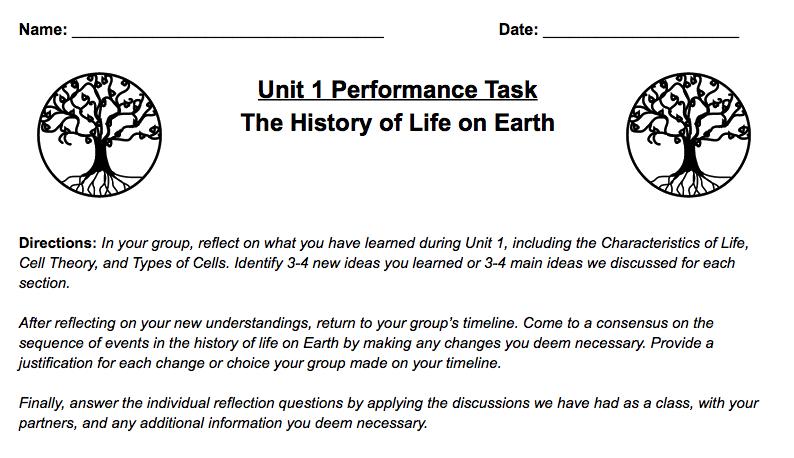 Unit 1 Performance Assessment - Jonathan\'s Classroom